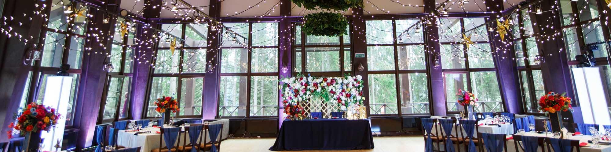 украшение зала на свадьбу спб
